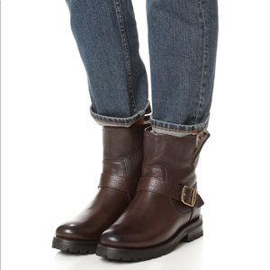Frye Natalie Short Engineer Lug Shearling Boots